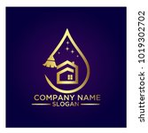 cleaning service business logo... | Shutterstock .eps vector #1019302702