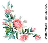 image composition with roses in ... | Shutterstock .eps vector #1019322022