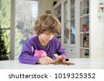 little boy putting coins into... | Shutterstock . vector #1019325352