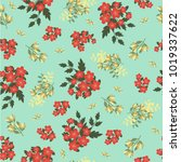 Stock vector vintage floral pattern seamless vector pattern with cute flowers for textile packaging wallpaper 1019337622