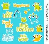 vector set of cartoon... | Shutterstock .eps vector #1019343742
