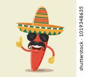 mexican chili pepper character... | Shutterstock .eps vector #1019348635