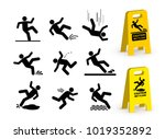 set of falling person... | Shutterstock .eps vector #1019352892