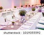 wedding table decoration in...   Shutterstock . vector #1019355592