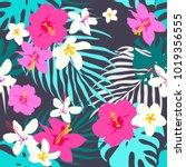vector seamless tropical... | Shutterstock .eps vector #1019356555