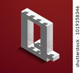 realistic white 3d isometric... | Shutterstock .eps vector #1019358346