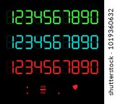 a set of glowing digital... | Shutterstock .eps vector #1019360632