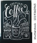 premium coffee sign drawn in... | Shutterstock . vector #1019360965
