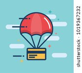 parachute with credit card... | Shutterstock .eps vector #1019367232