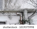 snow in winter on a rooftop.... | Shutterstock . vector #1019375998