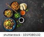 asian assorted food set  dark... | Shutterstock . vector #1019380132