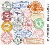 chicago illinois usa stamp... | Shutterstock .eps vector #1019382538