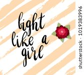 fight like a girl greeting card ... | Shutterstock .eps vector #1019383996