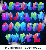 multicolored shiny alphabet... | Shutterstock .eps vector #101939122
