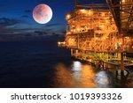 offshore the sunset industry... | Shutterstock . vector #1019393326