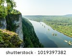 landscape with a river and... | Shutterstock . vector #1019397382