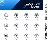 set of location pin icons. line ... | Shutterstock .eps vector #1019400172