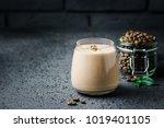 espresso maca banana smoothie... | Shutterstock . vector #1019401105