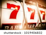 slot fruit machine closeup.... | Shutterstock . vector #1019406832