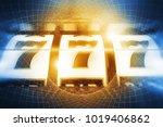 lucky slot machine concept... | Shutterstock . vector #1019406862