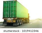 white truck on highway road...   Shutterstock . vector #1019412346