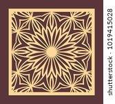 laser cutting panel. golden... | Shutterstock .eps vector #1019415028