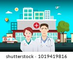 doctors with hospital building... | Shutterstock .eps vector #1019419816