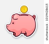vector illustration. piggy bank ... | Shutterstock .eps vector #1019428615