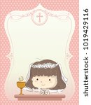 illustration of a kid girl in...   Shutterstock .eps vector #1019429116