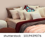 boho style bedroom with knitted ... | Shutterstock . vector #1019439076