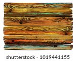 painted shabby wooden board.... | Shutterstock .eps vector #1019441155