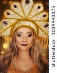 russian beauty. attractive...   Shutterstock . vector #1019443375