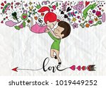 love theme with happy couple... | Shutterstock .eps vector #1019449252