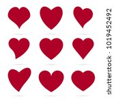set of red hearts icons. vector ... | Shutterstock .eps vector #1019452492