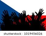 hands up silhouettes on a czech ... | Shutterstock . vector #1019456026
