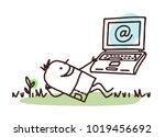 cartoon man relaxing with his... | Shutterstock .eps vector #1019456692