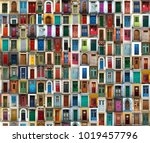 a collage of ancient colourful... | Shutterstock . vector #1019457796