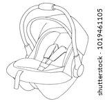sketch of a children's car seat.... | Shutterstock .eps vector #1019461105