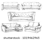 set of sofas isolated on white... | Shutterstock .eps vector #1019462965