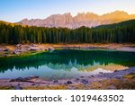 carezza lake   lago di carezza  ... | Shutterstock . vector #1019463502