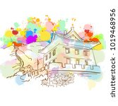 colorful great wall sketch.... | Shutterstock .eps vector #1019468956