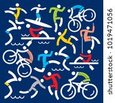 outdoor sports fitness icons... | Shutterstock .eps vector #1019471056