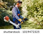 man with weedwacker cutting the ... | Shutterstock . vector #1019472325