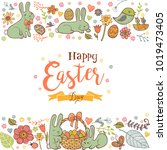 cute easter holiday background... | Shutterstock .eps vector #1019473405