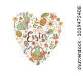 cute easter festive banner for... | Shutterstock .eps vector #1019473408