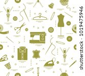 seamless pattern with tools and ... | Shutterstock .eps vector #1019475946