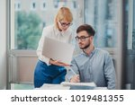 two colleagues monitoring... | Shutterstock . vector #1019481355