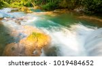 cascade of blue water pools at... | Shutterstock . vector #1019484652