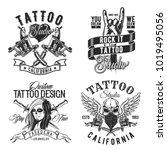 set of tattoo emblems  labels ...   Shutterstock .eps vector #1019495056