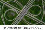 aerial view highway junction ... | Shutterstock . vector #1019497732